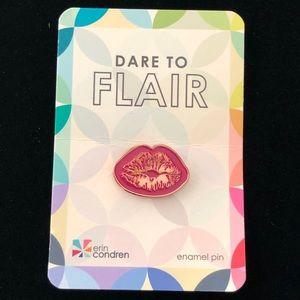 Erin Condren Dare To Flair Pink Lips Enamel Pin
